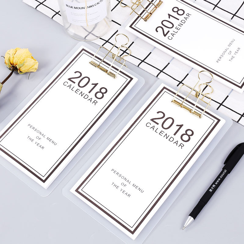 Cute white Menu 2018 Small Desktop Calendar planner Table Calendars Promotion Gifts Office School Supplies