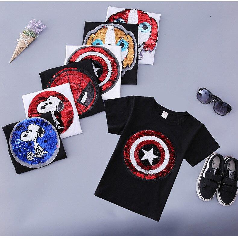 Neue stil ändern gesicht magie verfärbung pailletten Captain America cartoon pailletten hund t shirt für jungen 2-9 jahre