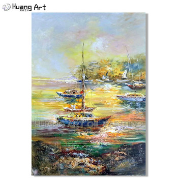 High Quality Hand Painted Abstract Sunrise Seascape Thick Oil Painting on Canvas Knife Sailing Landscape Pop Boat Oil Painting
