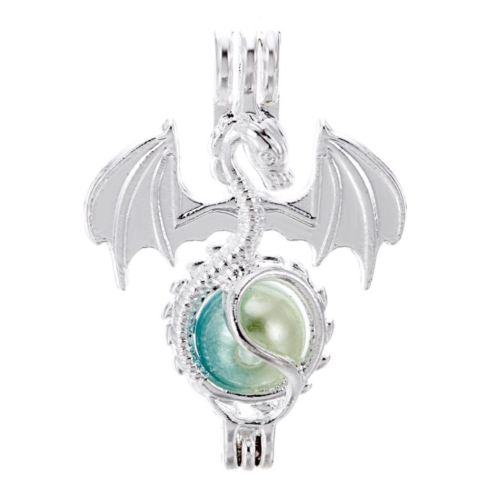 8pcs Bright Silver Creative Flying Dragon Jewelry Making Supplies Alloy Beads Cage Pendant Essential Oil Diffuser Trendy Locket