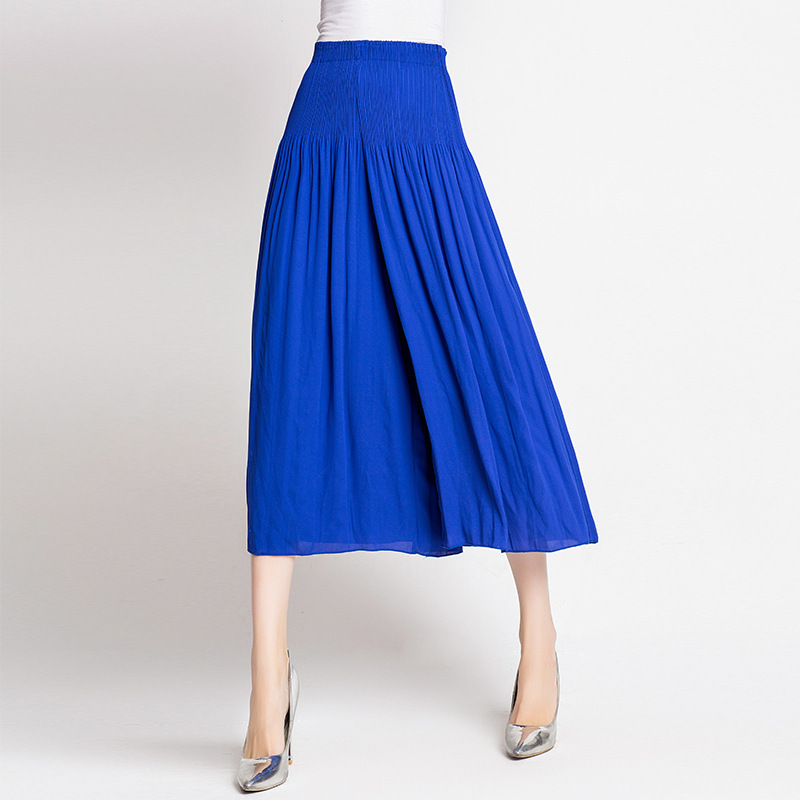 Plus Size Pants Women Autumn High-end European And American Miyake Pleated High Waist Solid Color Culottes Original Design thumbnail