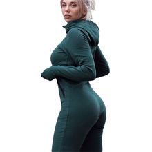 Women s 2018 Autumn Long Sleeve Hooded Jumpsuit Ladies Yoga Sportswear Jumpsuit font b Fitness b