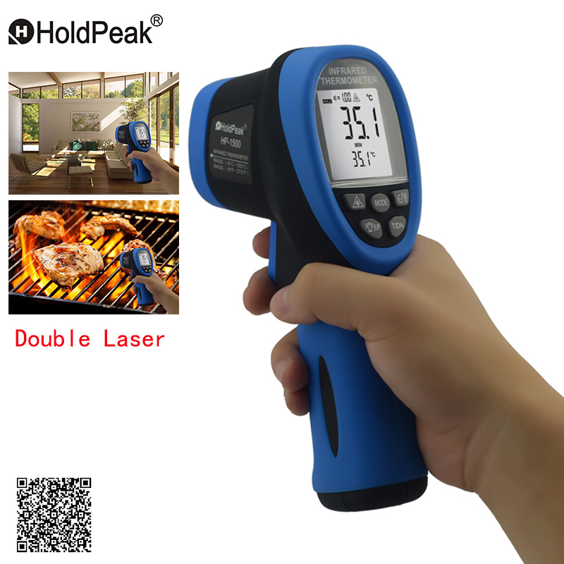 Double Laser HoldPeak HP-1500 Digital Infrared Thermometer -50~1500 Non Contact Temperature Meter Gun Laser Termometro Pistola aurora double drive 1500