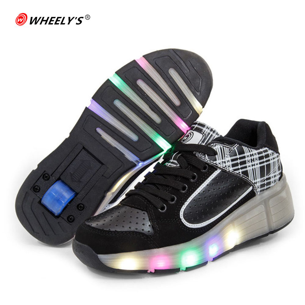 on sale b49f0 9b46d Kids Shoes 2017 Glowing Sneakers with wheels Children Shoes Roller Skates  Shoes Led Light up Shoes wheels for Boys Girls pink-in Sneakers from Mother    Kids ...