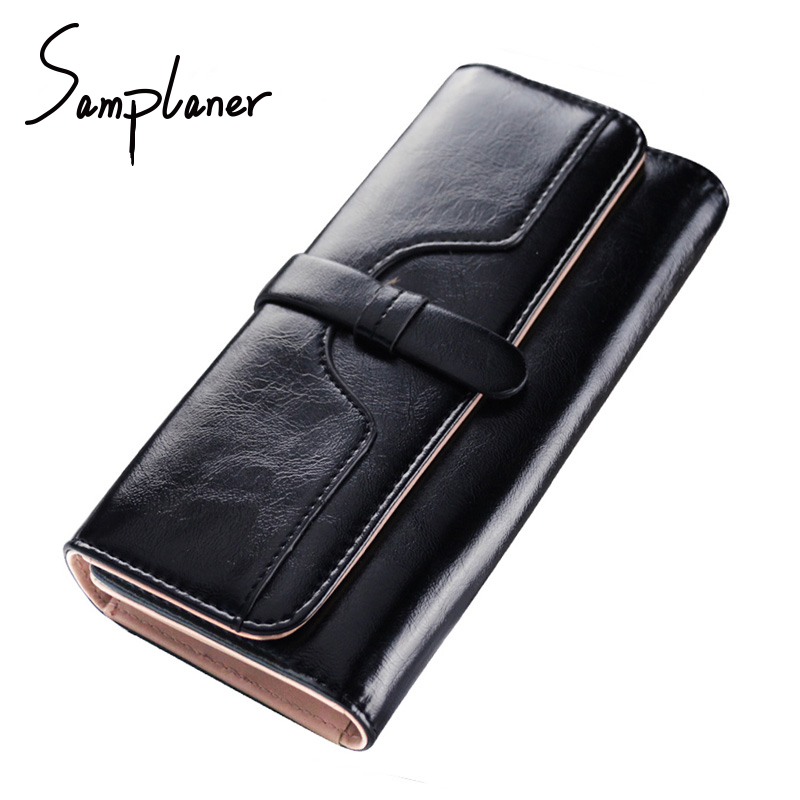 Samplaner Candy Oil Leather Hasp Women Purse Wallet Long Clutch Bags Brand Big Bag Ladies Wallet Clutches Female Large Wallets yuanyu 2018 new hot free shipping real thai crocodile women clutches dinner long women wallet large capacity women bag