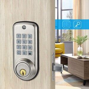 Image 5 - 安いスマートホームデジタルドアロック、防水インテリジェントキーレスパスワードステンレスピンコードドアロック電子デッドボルトロック