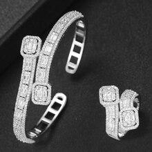 GODKI Korea Trendy Arabia Bangle Ring Set Jewelry Set For Women Wedding Cubic Zircon Crystal CZ aretes de mujer modernos 2019