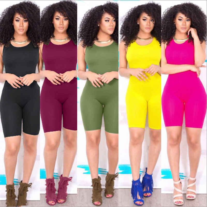 70c36c401e9e ... Women Casual Sleeveless Bodycon Romper Jumpsuit Club Bodysuit Short  Pants Summer Solid Color Vest 1PCS Casual ...