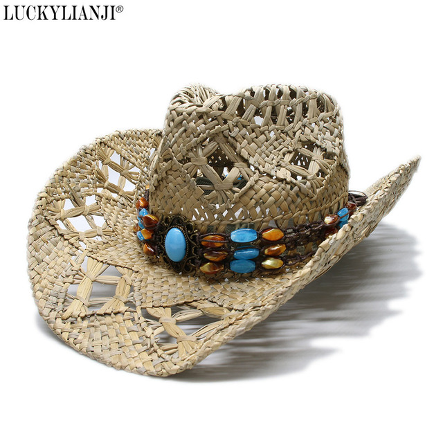 7c63e4821 US $18.06 35% OFF|LUCKYLIANJI Women's Men's Vintage Wide Brim Straw Sun  Beach Cowboy Cowgirl Western Hat Vintage Turquoise Braid Band (58cm)-in Sun  ...