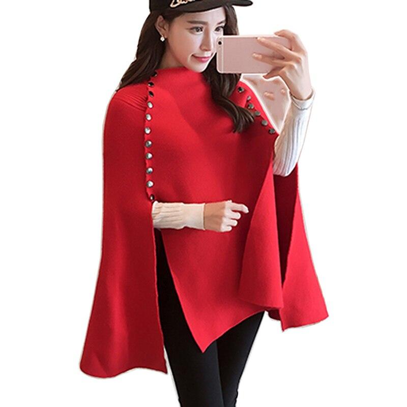 Printemps automne tricoté pull manteau femmes 2018 mode chauve-souris Poncho chandail belles femmes Crochet pull extérieur Cape Top