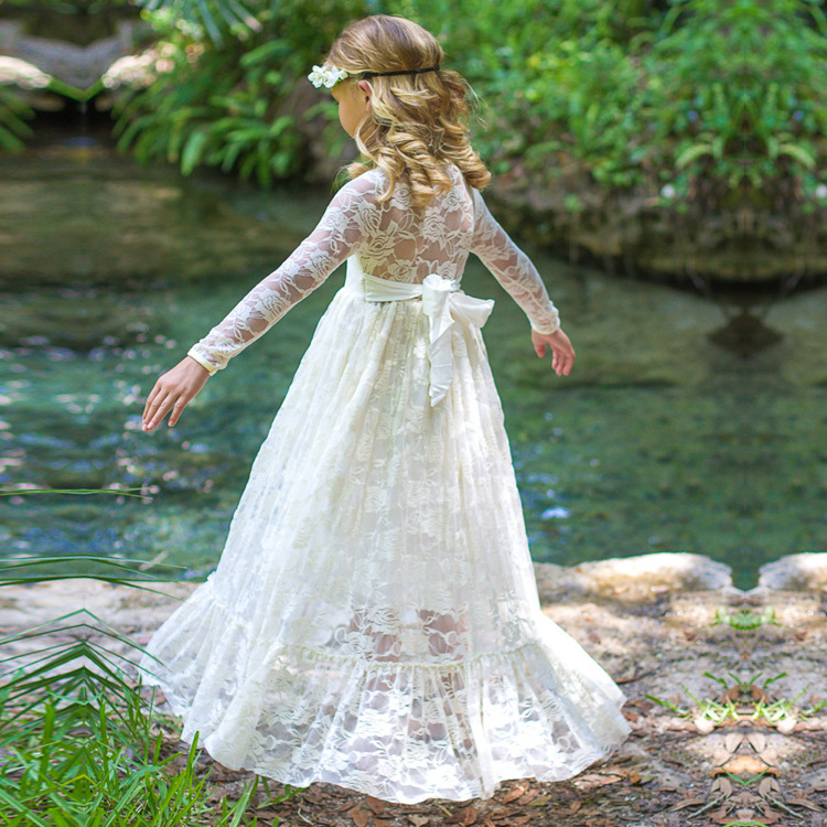 Fashion vintage childrens clothing spring autumn long sleeve bow princess dress lace kid ...