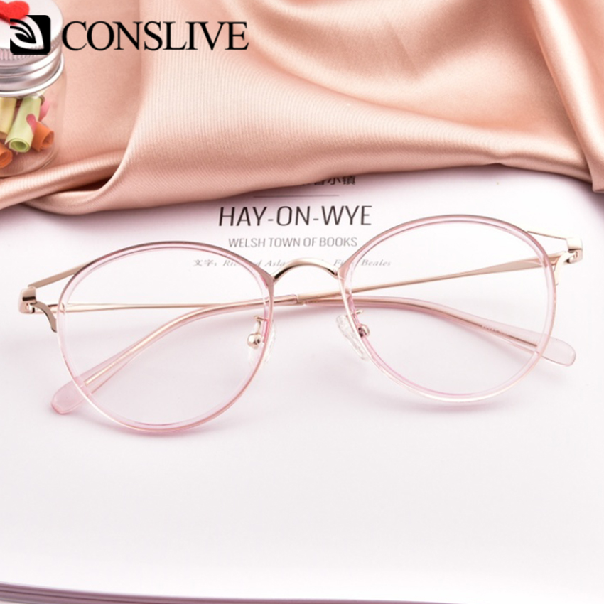 Pink Cat Eye Optical Glasses Frames Women Girls Transparent Dioptric Glasses Women Round Myopia Spectacles Frames 90029