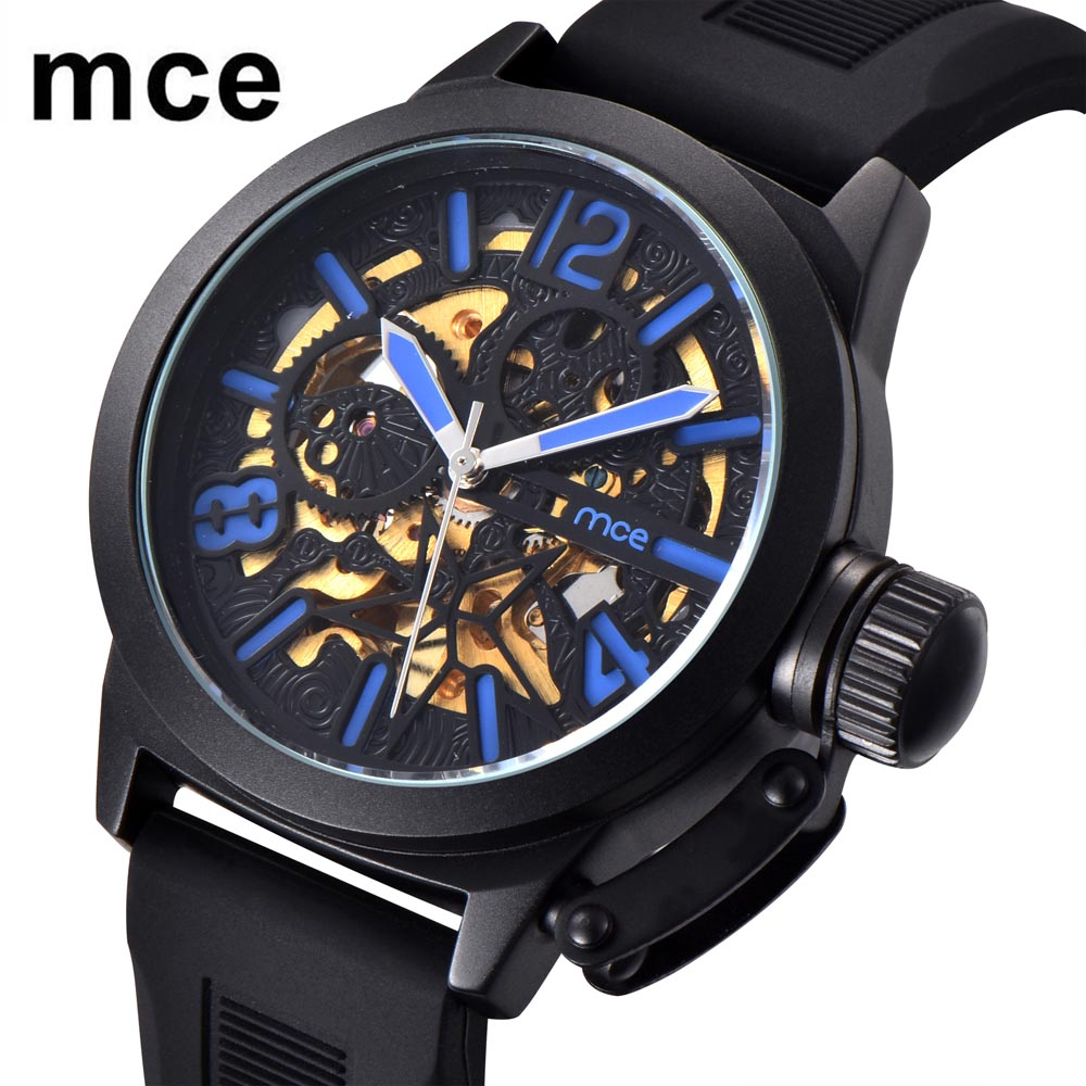 MCE Transparent Luxury Gear Steampunk Watches Soft Silicone Belt Golden Movement Inside Self Winding Automatic Wrist Watch ultra luxury 2 3 5 modes german motor watch winder white color wooden black pu leater inside automatic watch winder