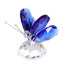 Handmade K9 Crystal Butterfly Figurine Glass Miniature Animal Craft Wedding Birthday Gift Ornament Home Decor Garden Fairy(China)