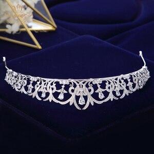 Image 3 - Bavoen Sparkling Zircon Bridal Tiaras Crowns Leaves Bridal Headbands Crystal Wedding Hair Accessories Evening Hair Jewelry