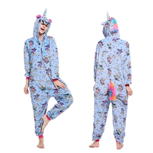 Flannel Kigurumi Unicorn Pajamas Onesie Adults Animal Sets Cartoon Panda Stitch Halloween Sleepwear Cosplay for Women