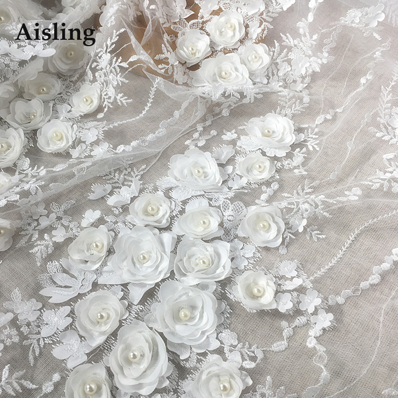 HOT SALE Wedding Dress Lace Fabric 3D Chiffon Flowers Nail Bead High End European Sequine Dembroidered
