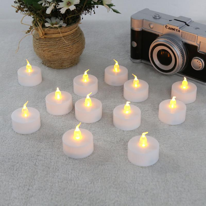 12pcs/pack Flickering Flameless LED Tealight Battery Candle Light Christmas Xmas Party Propose Holiday Wedding Safety Candles