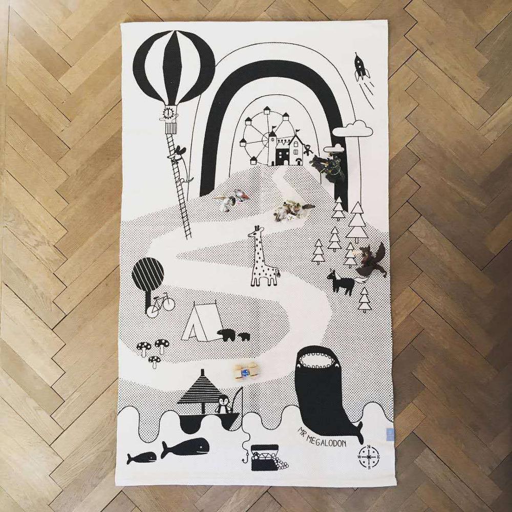Размер 150*90 см, акула и собака, следы, карта, игровой коврик, коврик для ползания, украшение детской комнаты/Домашние коврики для младенцев - Цвет: Shark90x150cm