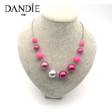 Dandie Hot Sale Pink And Silver Acrylic Bead  Necklace, Womens Statement Necklace