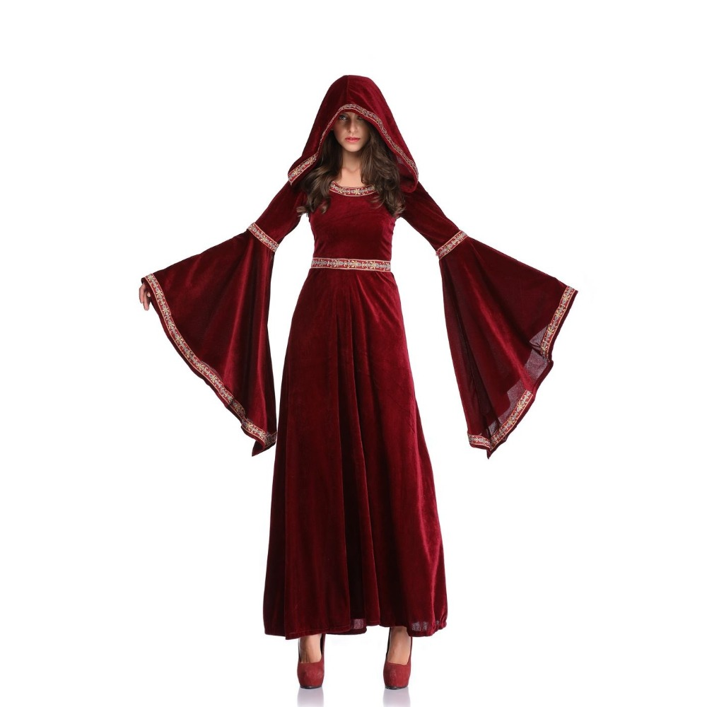 Halloween Victorian Dress Cosplay Costumes Scary Vampire Witch Clothes Women Medieval Masquerade Costume Red Fancy Maxi Dress