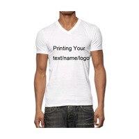 Бесплатная печать одного Цвет Для мужчин футболки короткий рукав 220gsm хлопковые летние Рубашки для мальчиков одежда логотип для взрослых, v