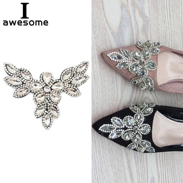 c2add8a2e 1pcs Beautiful Flower Bridal Wedding Party Shoes Accessories High Heels  Shoes DIY Manual crystal Rhinestone Shoe Decorations