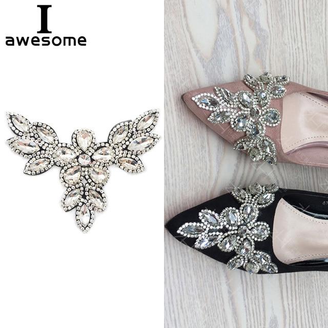 169eae5c48aa 1pcs Beautiful Flower Bridal Wedding Party Shoes Accessories High Heels Shoes  DIY Manual crystal Rhinestone Shoe Decorations