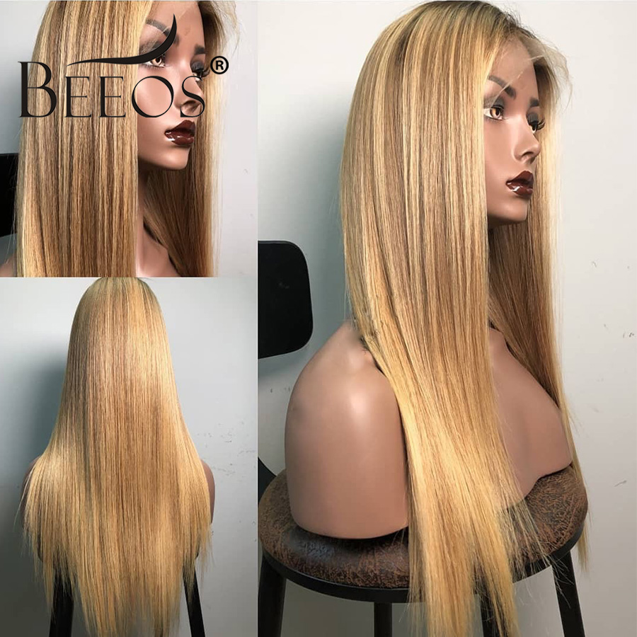 Beeos Hair Ombre Honey Blonde 13*6 Deep Part Lace Front Human Hair Wig With Baby Hair Preplucked Glueless Remy Hair Lace Wigs