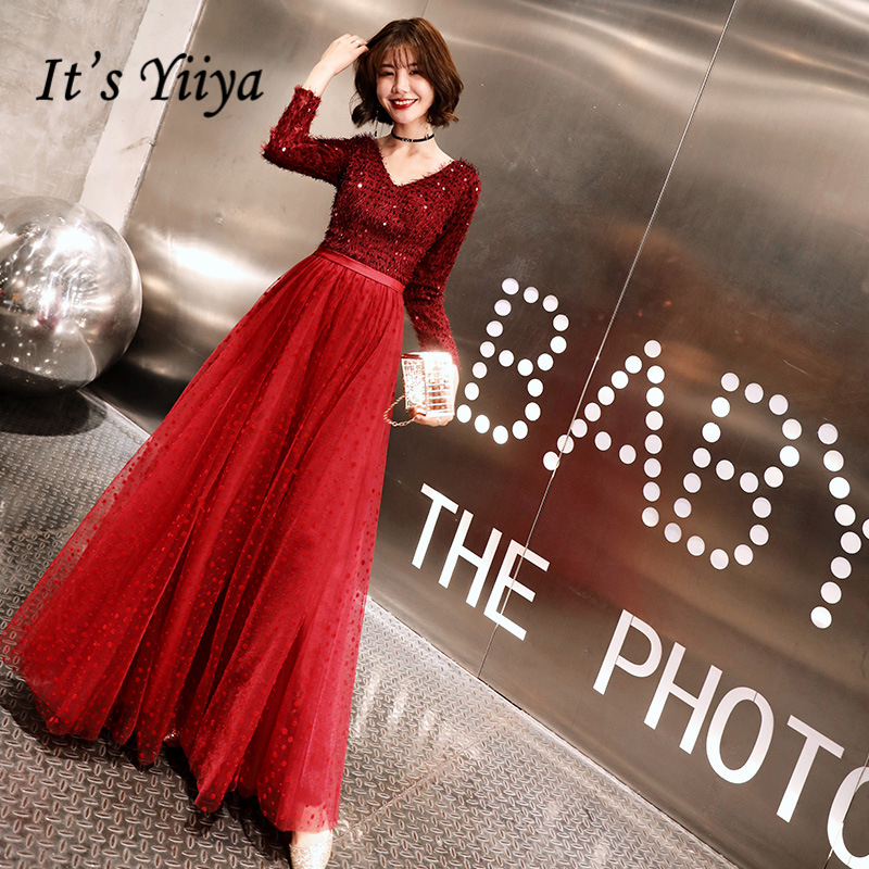 It's YiiYa   Evening     Dresses   Sexy V-neck Sequined Tassel Long Formal   Dress   Lace Illusion Full Sleeve A-line Zipper Party Gown E399