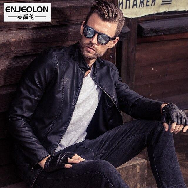 Enjeolon marki PU Skórzane Kurtki Motocyklowe człowiek, plus rozmiar 3XL kurtka płaszcz człowiek, stanąć kołnierz Mężczyzna Dorywczo czarne Płaszcze P202