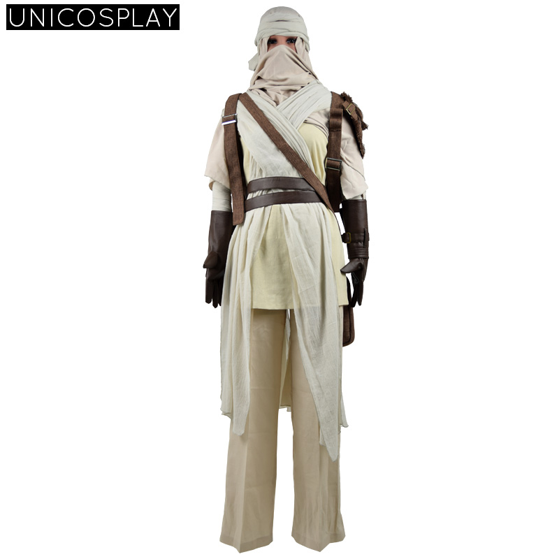 Star Wars 7 The Force Awakens Rey Jedi Cosplay Costume Fancy Dress Clothing Halloween Outfit For Woman Man
