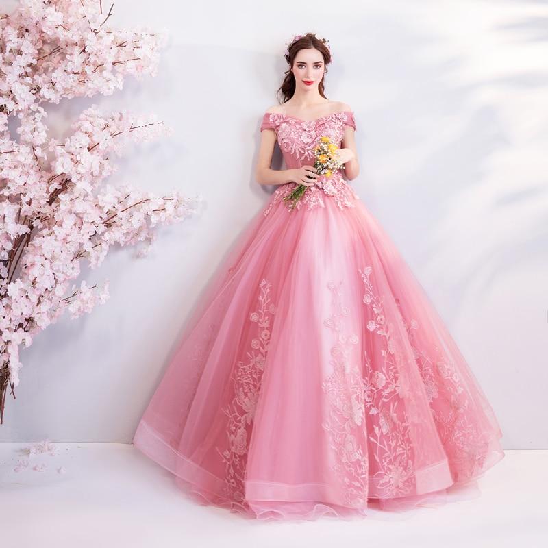 Robes de bal rose 2019 hors de l'épaule appliqué col en V Tulle fleur à plusieurs niveaux fête longue robe de bal robe de soirée gala jurken