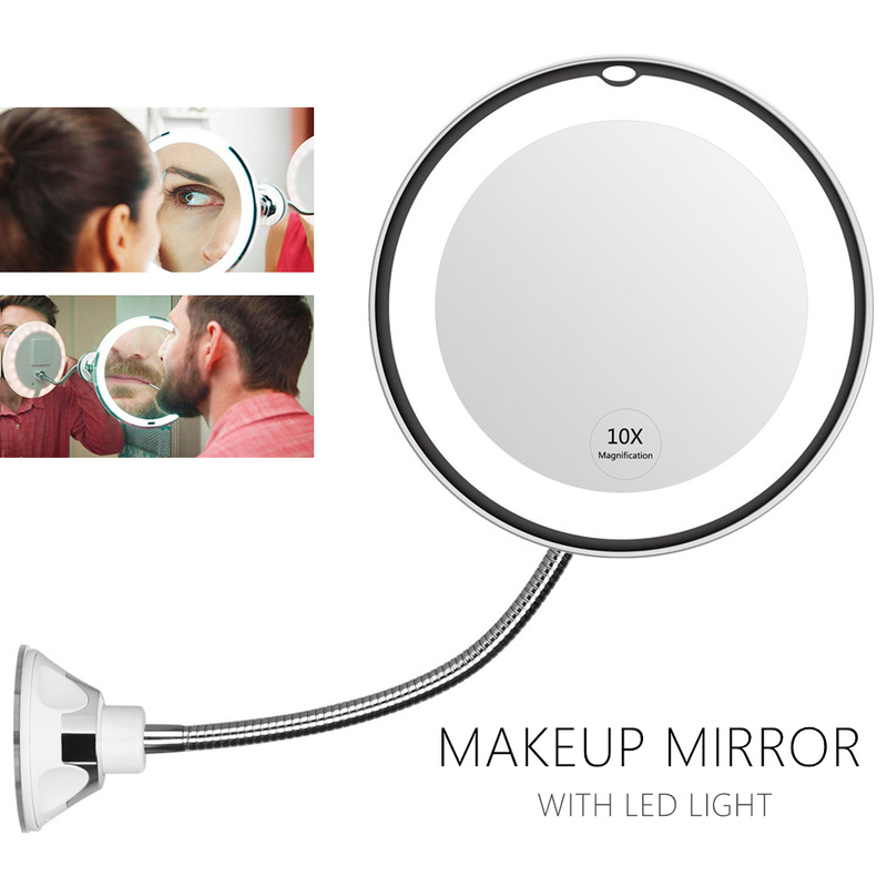 360 Degree Flexible Mirror Makeup Mirror With LED Light Vanity Mirror 10X Magnifying Miroir Bathroom Bedroom Lamp Night Light