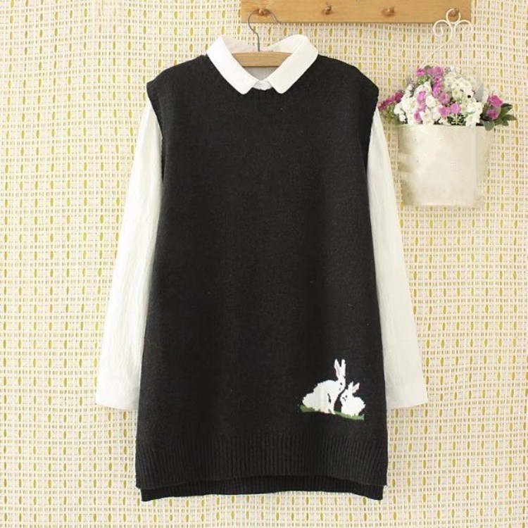 3 Color Women Rabbit Sleeveless Sweater New Casual Big Size Knitted Vests Spring Autumn O Neck Loose Waistcoats
