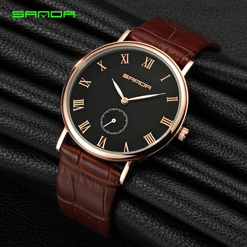 8de25134795 SANDA Homens Relógio Marca de Luxo Ultra Fina de Couro Relógio de Ouro  Masculino Negócio Relógio de Pulso À Prova D  Água Homens Relógios relogio  masculino ...