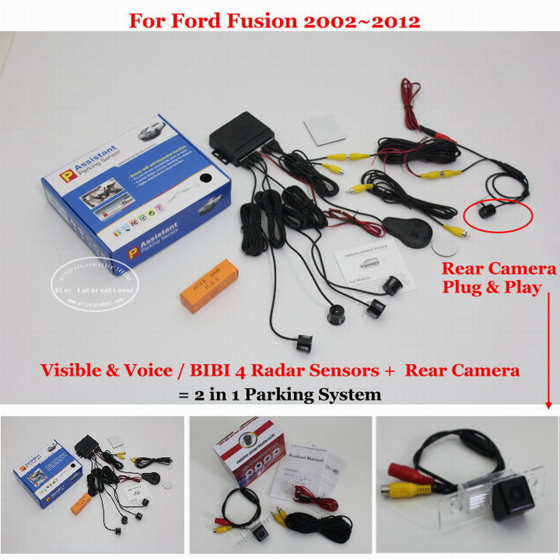 ФОТО For Ford Fusion 2002~2012 - Car Parking Sensors + Rear View Back Up Camera = 2 in 1 Visual / BIBI Alarm Parking System
