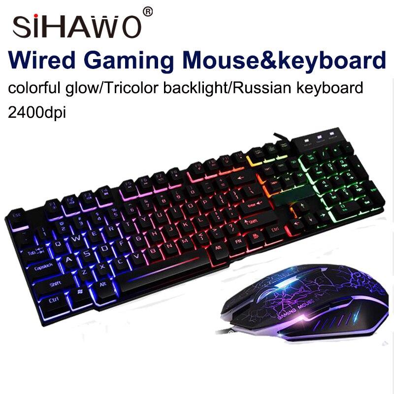 Jeu rétro-éclairage souris et clavier ensemble ordinateur de bureau jeu souris et clavier ensemble mécanique sensation USB2.0 Performance imperméable à l'eau