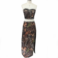 strapless sexy 2 piece camouflage prom dresses 2018 waist split evening gown size 0 custom make real pictures