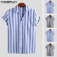 Camisa Casual de moda INCERUN 2019 para hombre a rayas de manga corta de cuello de solapa blusa transpirable Camisa de marca Masculina hombres S-5XL