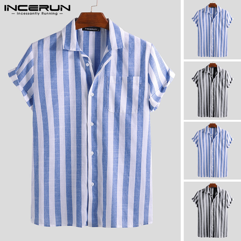 INCERUN 2019 Fashion Casual Shirt Men Striped Short Sleeve Lapel Neck Breathable Blouse Camisa Masculina Brand Shirts Men S-5XL