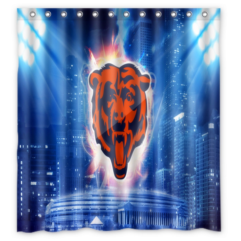 Vixm Home Chicago And Bear Shower Curtain TV Sports Figures Bathroom Curtains With Hooks 66x72 Inch