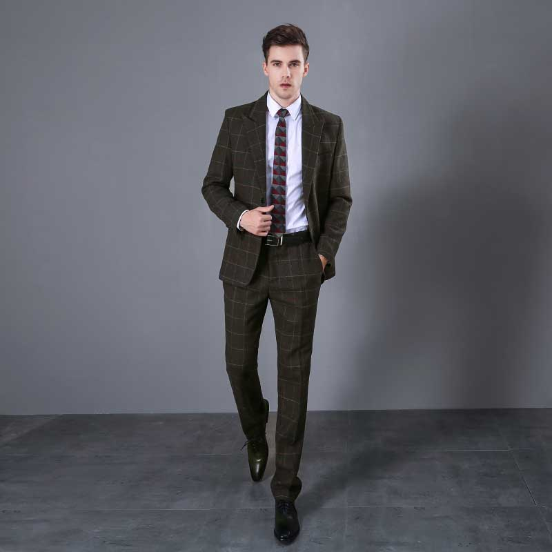 Fashion Army Green Men's Suit Plaid Wool Business Casual Suit Men's Three Piece Suit Blazer + Pants + Vest Anzug Herren 8114