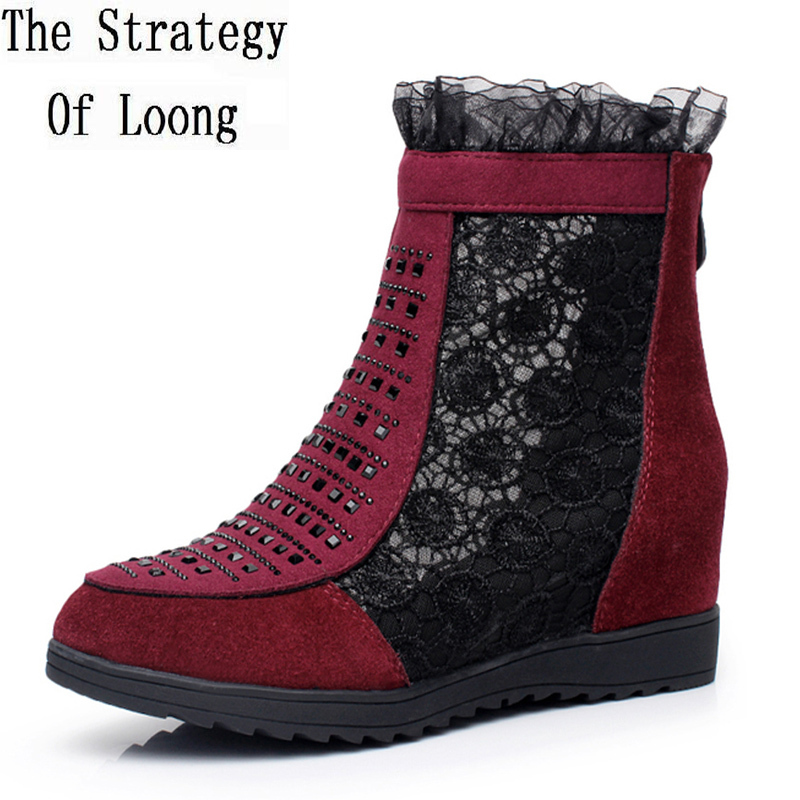 Nubuck Leather Lace Gauze Floral Flats Wedges Elevator Summer Women Ankle Boots Lady Pearl Cut Out Plus Size 34-42 SXQ0525