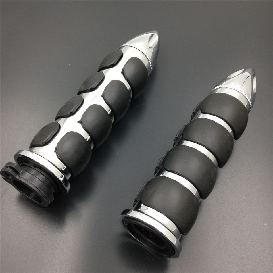 """Chrome 1/"""" 25mm Rubber Hand Grip For Harley Davidson FXDWG Dyna Wide Glide"""