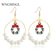 WNGMNGL 2018 New Christmas Women Earrings Fashion Imitation pearls Hollow Round long drop For Part Jewelry Gift