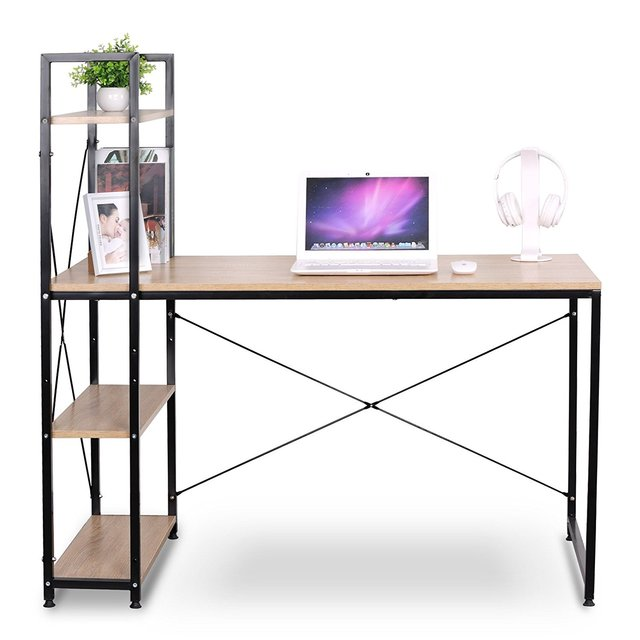 Portable corner computer desk for small spaces with wood 4 - Small corner desk with storage ...