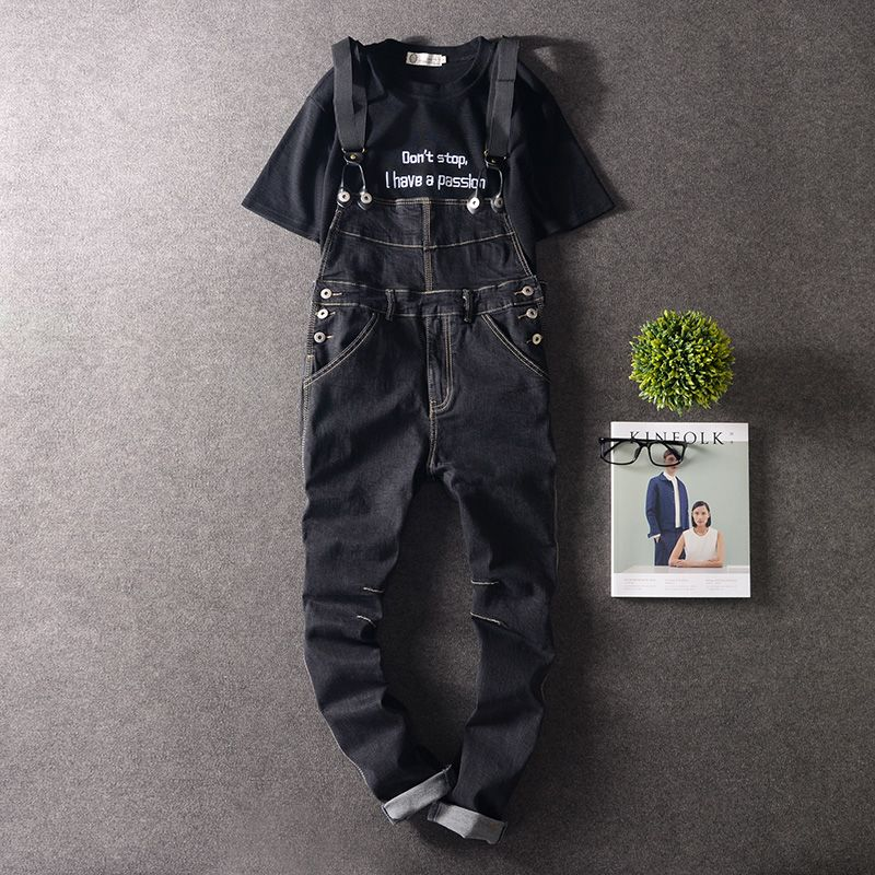 2017 Men Hip Hop Slim Black Denim Jumpsuits Men Autumn Jeans Bib Overalls vintage Male Suspender cargo Pants 063006 2016 brand mens denim overalls fashion bib jeans skinny overalls for men hole slim black and white suspender pants m xxl