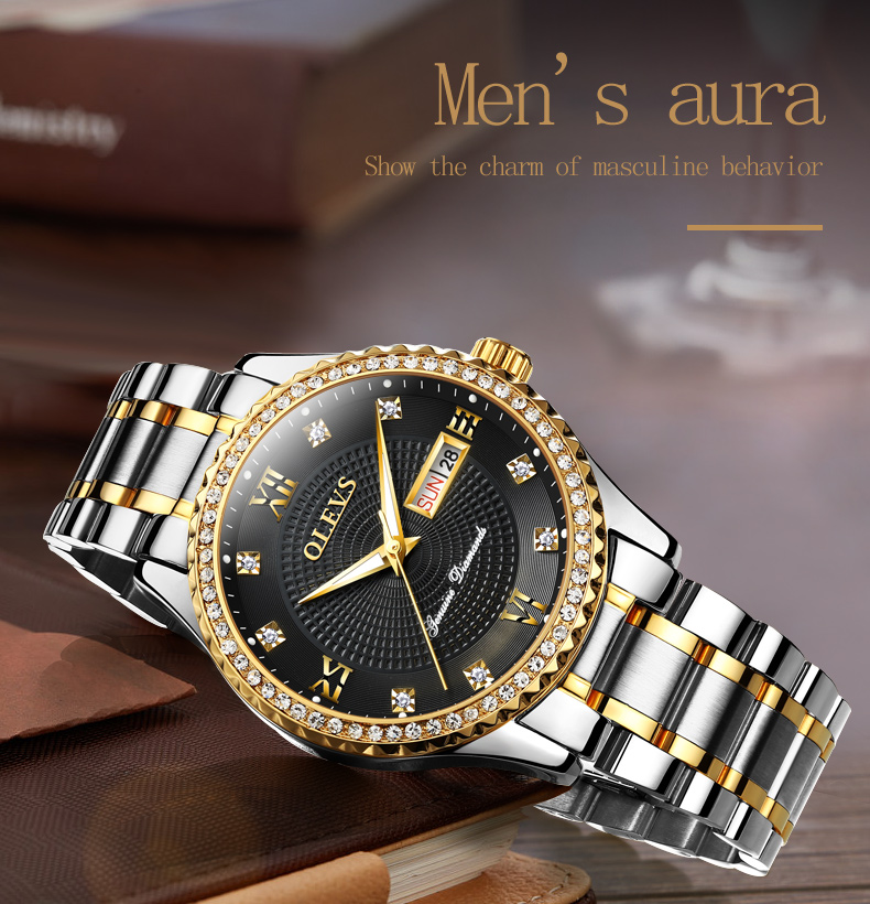 2018 OLEVS Luxury Brand Watch Men's Analog Quartz Auto Date Watches Man Waterproof Clock Men Sport Stainless Steel Wrist Watch 17