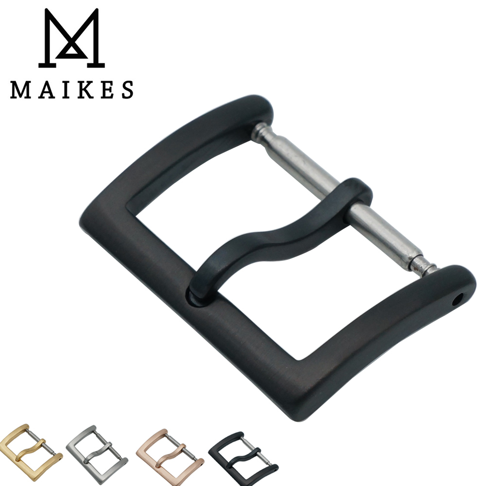 MAIKES New Arrival 16mm 18mm 20mm 316L Stainless Steel Black Watch Buckle Leather Strap Band Watch Clasp WATCH-BUTTOM maikes new product durable genuine leather watch band 19mm 20mm 22mm black casual watch strap stainless steel buckle for tissot